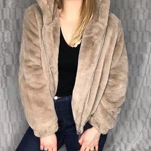 Bagatelle NYC Faux Fur Full Zip Up Hoodie Jacket